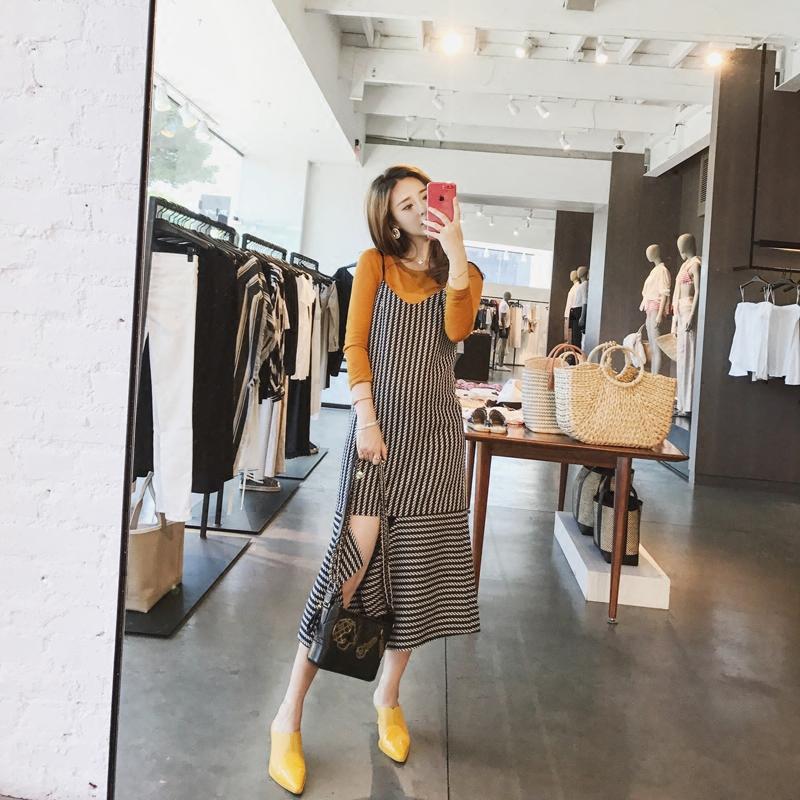 徐琳mini2017新款韩版条纹吊带连衣裙女秋冬中长款打底背心裙长裙