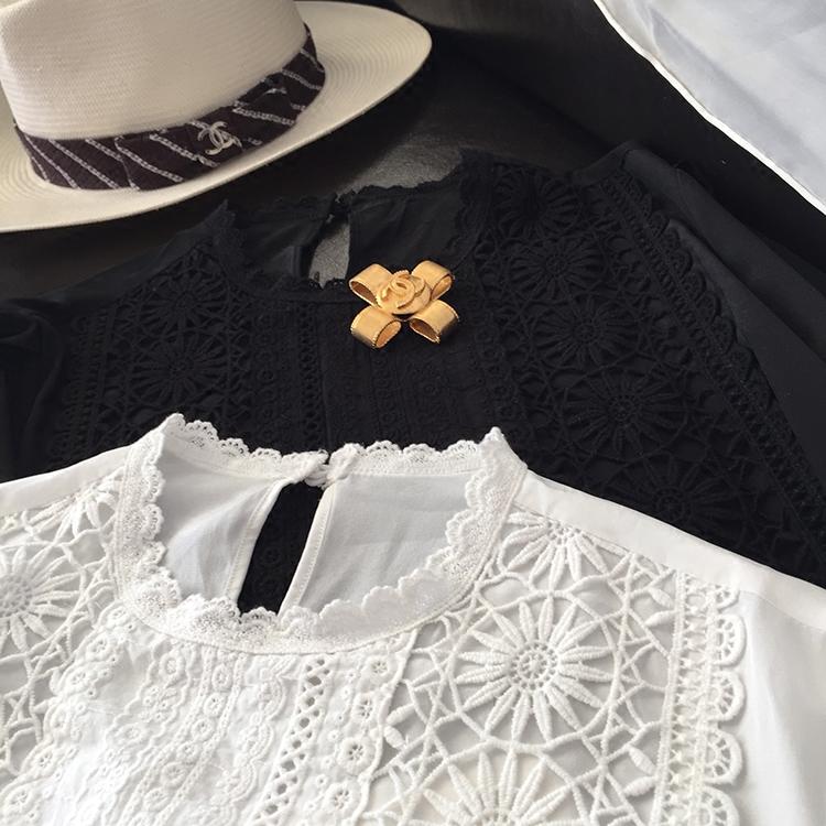 18年夏新款,重工刺绣镂空蕾丝花朵邂逅真丝衬衫,黑白2色
