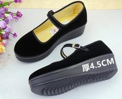 正品老北京布鞋实在人黑平绒女一带服务员工作鞋广场舞蹈妈妈单鞋