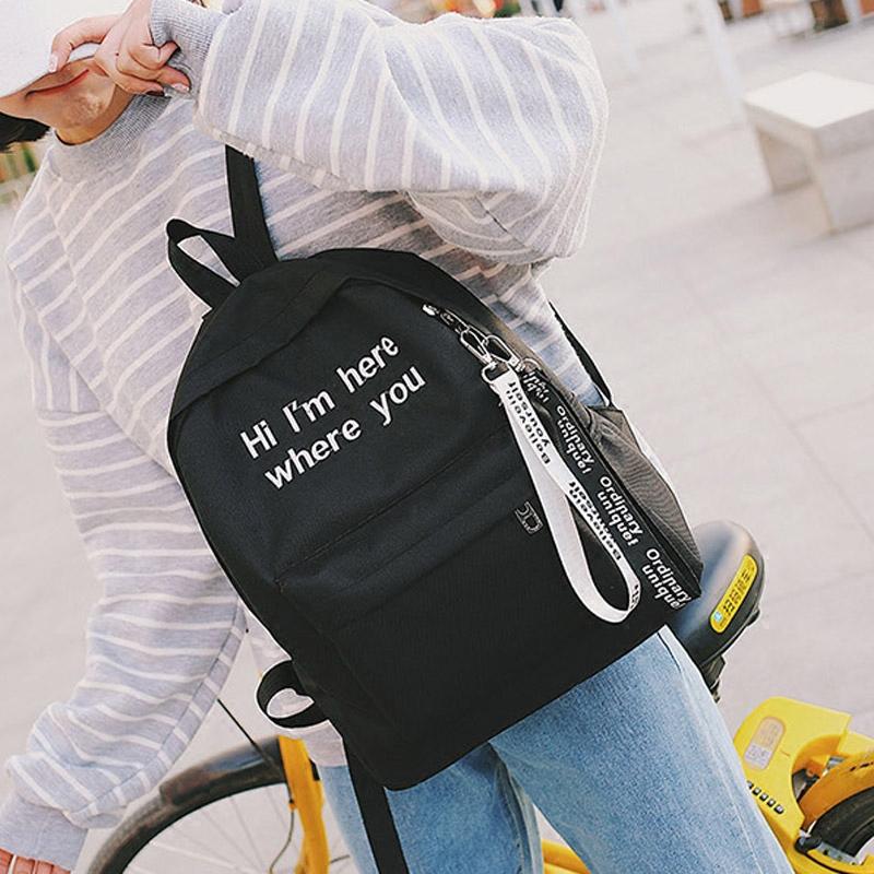 原宿简约2017帆布双肩包小清新女日韩版潮学院风书包学生旅行背包