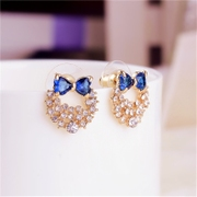 Good bow Stud Earrings jewelry ladies Korean fashion earring earrings zircon blue rhinestones