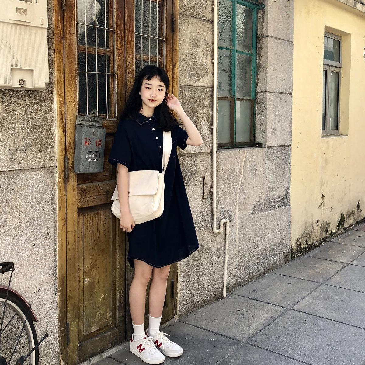 小树 元气 少女 明线 衬衫 领子 连衣裙 韩国 夏季 新款
