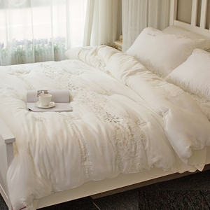 Autumn and winter quilt Spring and autumn quilt 40 Tencel thick warm winter quilt core white embroidery quilt single double quilt