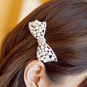 Good hair accessories hair clip Korea accessories Korean Ribbon Pearl rhinestone tiara hair clip holder