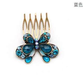 H069 Korean sweet Butterfly Butterfly hair comb-encrusted fork made by colorful hair sticks hair accessories