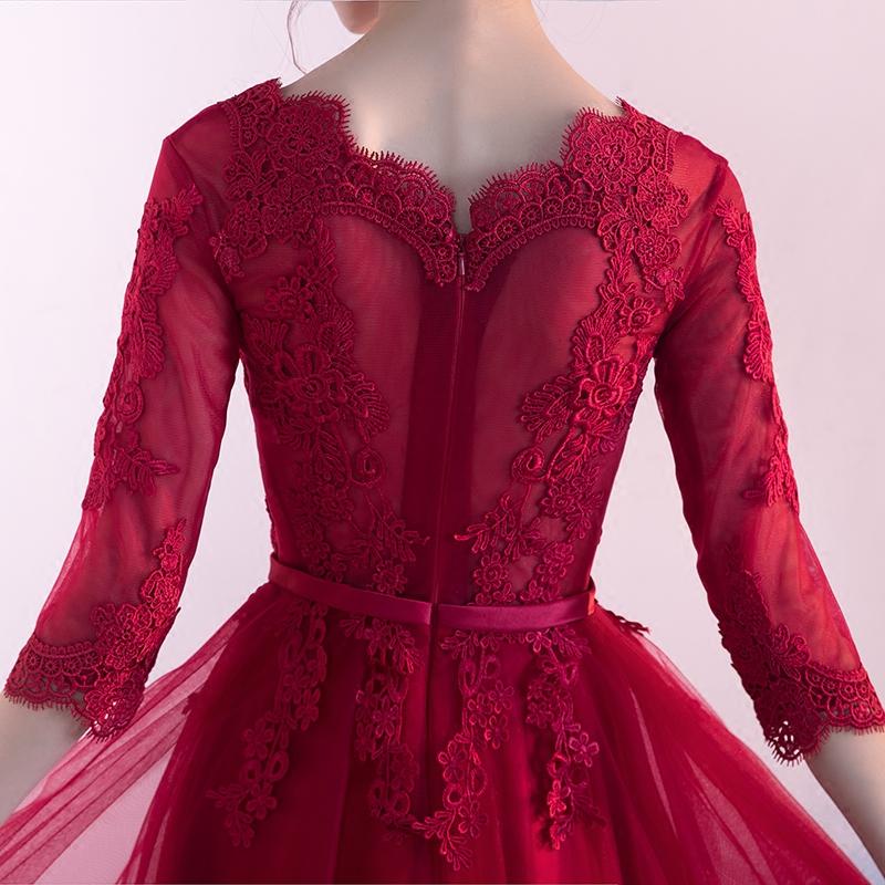 敬酒服新娘2017冬季结婚新款红色中长款婚宴晚礼服女显瘦进酒服装