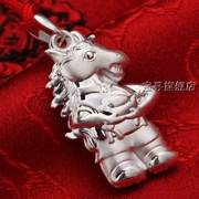 999 sterling silver necklace red rope necklace for men and women silver pendants year transport thousands of pure silver horse Zodiac jewelry