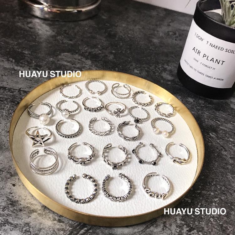 食指纯银925日韩女十字复古黑玛瑙珍珠字母星星麻花链条开口戒指