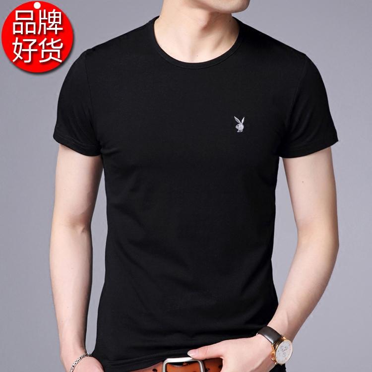 夏天短袖T恤男士圆领纯色夏季土青年男装修身潮纯棉体恤衫上衣服
