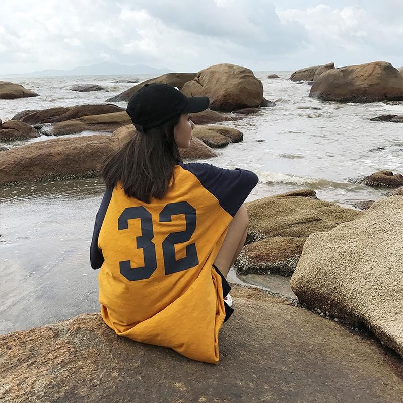 【咕噜喔】夏季bf风宽松女oversize拼色袖背后数字长款短袖T恤衫