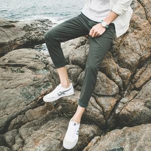 夏季薄款修身九分裤男休闲裤韩版小脚弹力军绿色运动速干裤男潮流