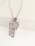 Good Japanese and Korean long necklace alloy jewelry rhinestone whistle whistle simple and versatile necklace bag-mail