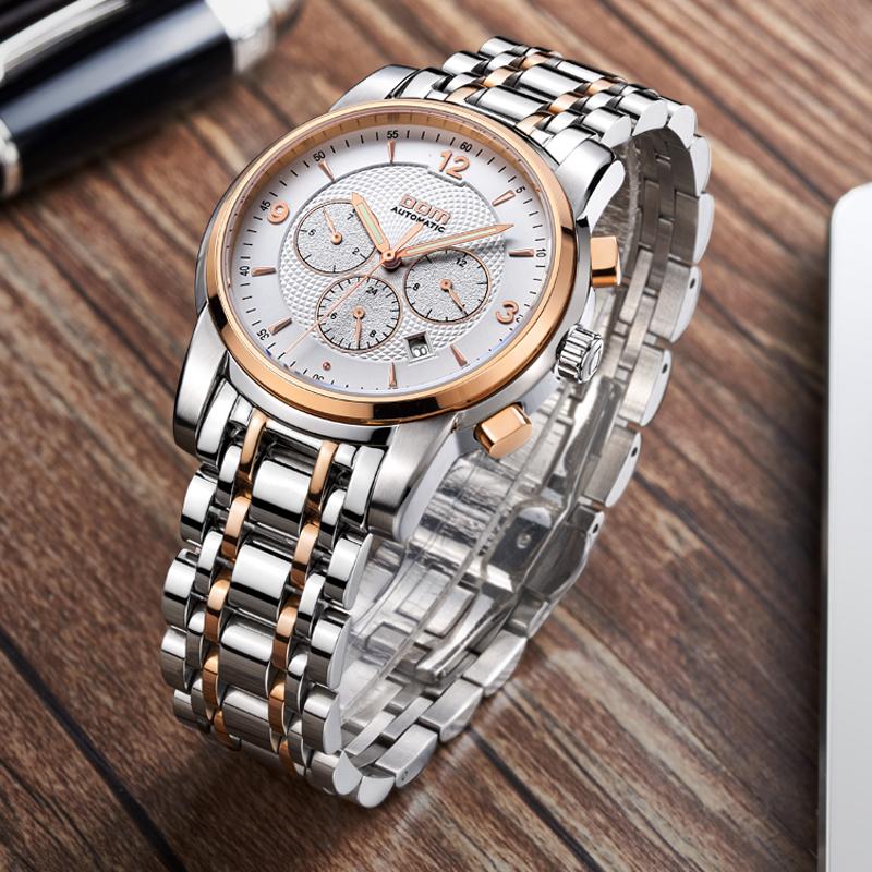 DOM/多姆 腕表品牌手表/流行手表机械精钢带新款商务休闲腕表男表