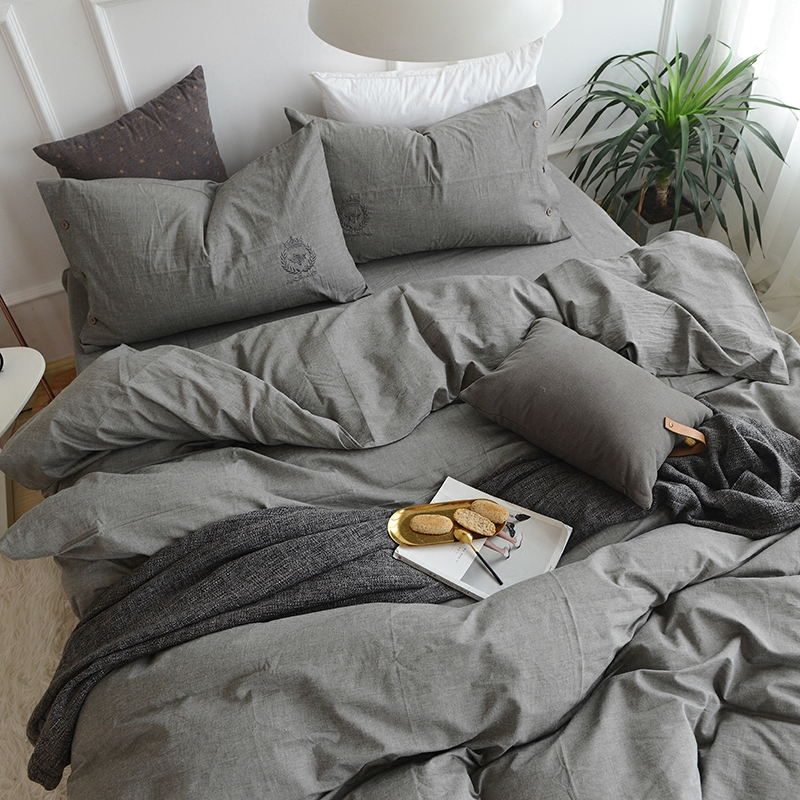 刺绣水洗棉全棉四件套纯色简约裸睡床上用品纯棉白色灰色被套床单