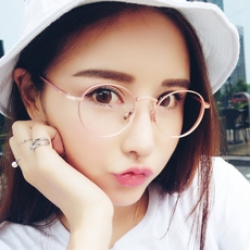 平光镜韩版复古潮眼镜框女文艺近视圆框金属眼镜架圆形男士超轻