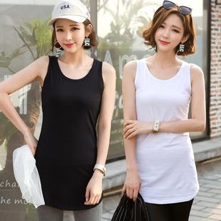 夏季白色中长款吊带背心女士百搭修身外穿大码女装黑色纯棉打底衫图片