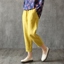 New cotton, hemp, women's nine-minute pants, flax pants, loose Hallen pants, summer and Korean casual pants, yellow radish pants