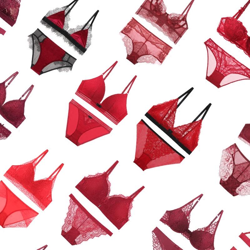 贴身日记法式性感蕾丝大红色本命年圣诞新年文胸罩套装内衣礼盒装