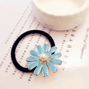 Good Korean hair accessories flower string imitation pearls ring rope ring with painted hair Lady fan band