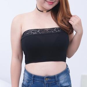 加肥加大码女装抹胸短款裹胸胖mm防走光文胸蕾丝打底内衣夏200斤