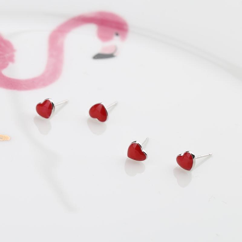 迷你小巧红色爱心S925纯银耳钉气质甜美少女感耳环耳饰品防过敏