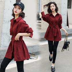 灯芯绒衬衫裙2021秋冬新款收腰港风设计感小众复古洋气红色上衣女