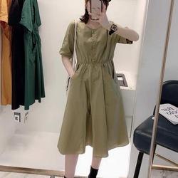 中长款连衣裙女短袖2021夏季新款韩版百搭显瘦过膝休闲时尚衬衫裙