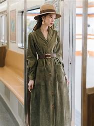 衬衫裙女中长款设计感小众2021新款秋冬复古收腰显瘦灯芯绒连衣裙