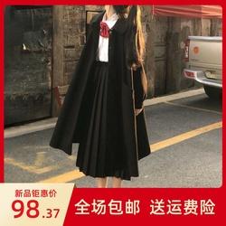 【三件套】中长款毛呢外套+长袖蝴蝶结衬衫+百褶裙秋冬套装女学生