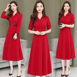 中长款连衣裙女秋冬新款韩版收腰气质衬衫小个子大码中年polo衫裙