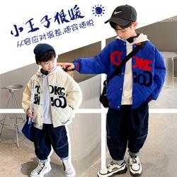 男童韩版夹棉棒球服外套2021年冬季新款薄款棉服外套洋气韩版潮酷