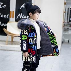 男童冬装加绒加厚棉衣儿童派克服2020新款洋气棉服男孩涂鸦外套潮