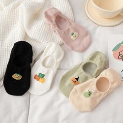 船袜女浅口隐形袜子夏季薄款防滑不掉跟纯棉短袜甜美可爱日系夏天