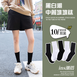 袜子女中筒袜夏季薄款黑白纯色长袜纯棉jk长筒堆堆袜春秋季ins潮
