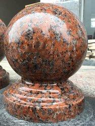 门柱球花岗岩石材大理石路障石挡车石风水球挡车球枫叶红圆球石球