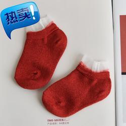 傲娇妞女童韩国短袜金银丝花边q袜子低筒儿童船袜夏季薄款