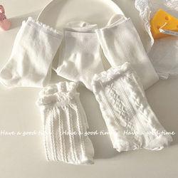 白色袜子女可爱日系jk长袜花边袜ins潮春秋中筒袜女纯棉夏季薄款
