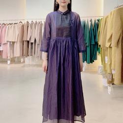 2021年秋冬款亚麻长裙中式立领碎褶改良连衣裙文艺复古棉麻女装