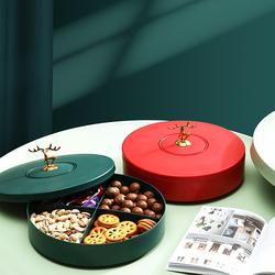 创意分格带盖收纳盒糖果盘家用现代客厅茶几过年零食瓜子干果盘子