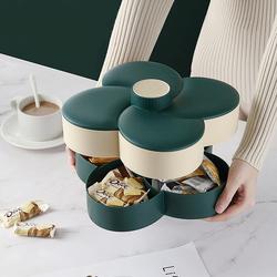 干果盘糖果盒家用创意客厅双层旋转瓜子点心水果盘零食分格收纳盒