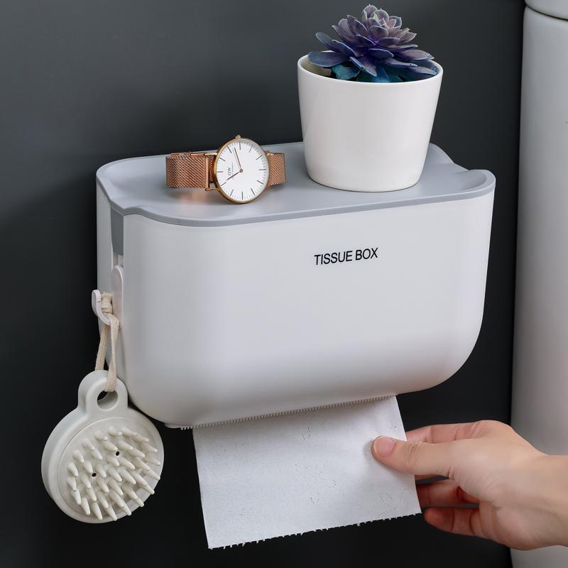 创意卫生纸盒卫生间纸巾厕纸置物架家用免打孔厕所防水抽纸卷纸筒