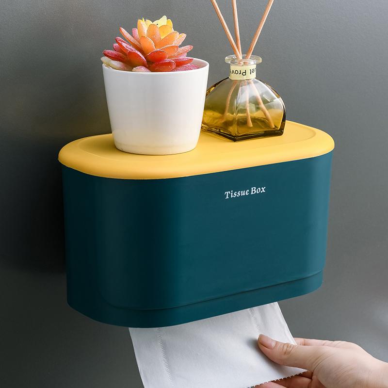 简约卫生间纸巾盒免打孔厕所防水抽纸盒卷纸筒壁挂式卫生纸置物架