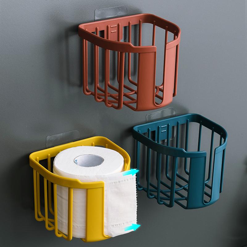 免打孔卫生间置物架厕所纸巾盒厕纸家用手纸架卷纸筒卫生纸卷纸架