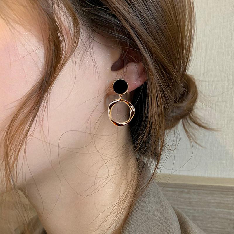 韩国圆圈耳环女气质高级感纯银防过敏黑色耳钉2021年新款潮设计感
