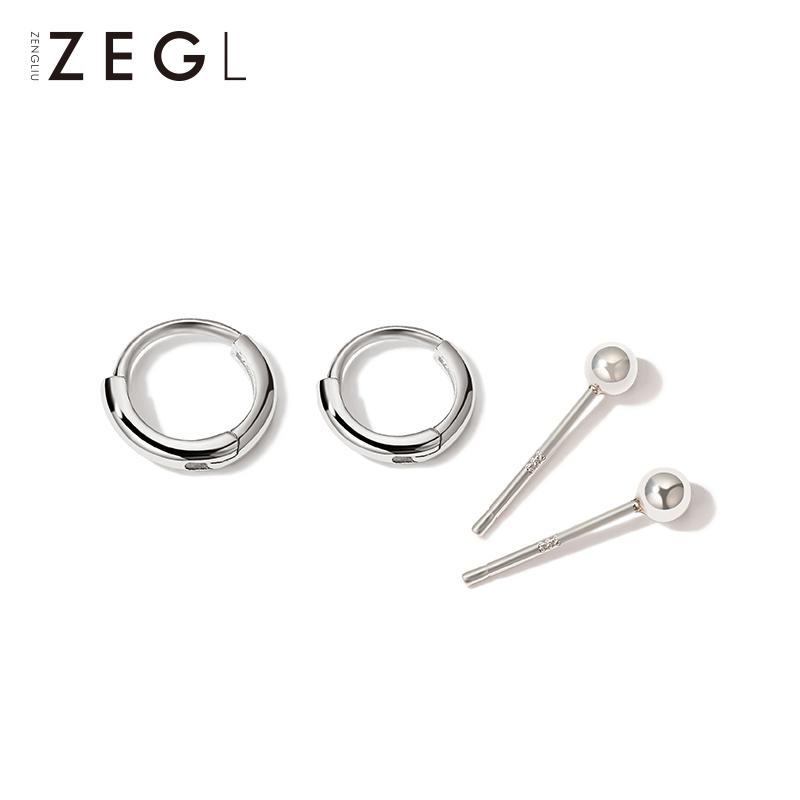 925银小耳圈耳钉女999纯银耳环2021年新款潮睡觉不用摘的耳饰耳扣