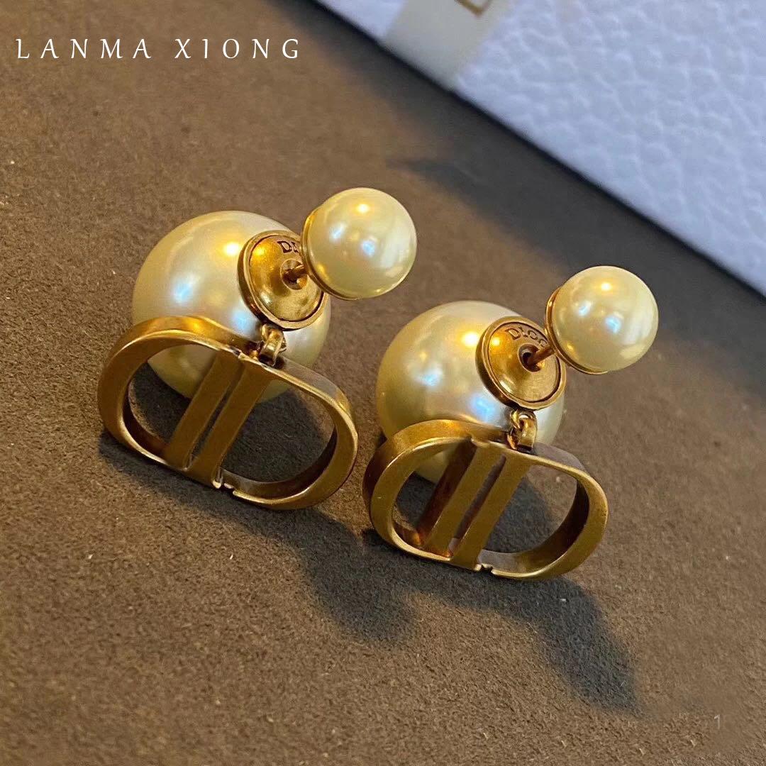 2021新款欧美baby同款D迪家珍珠耳环925银针耳钉耳饰黄铜复古做旧