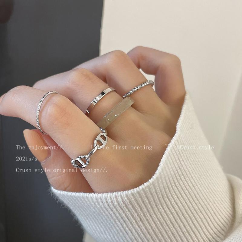 银色素圈组合套装戒指女ins潮简约冷淡风食指戒时尚网红个性指环