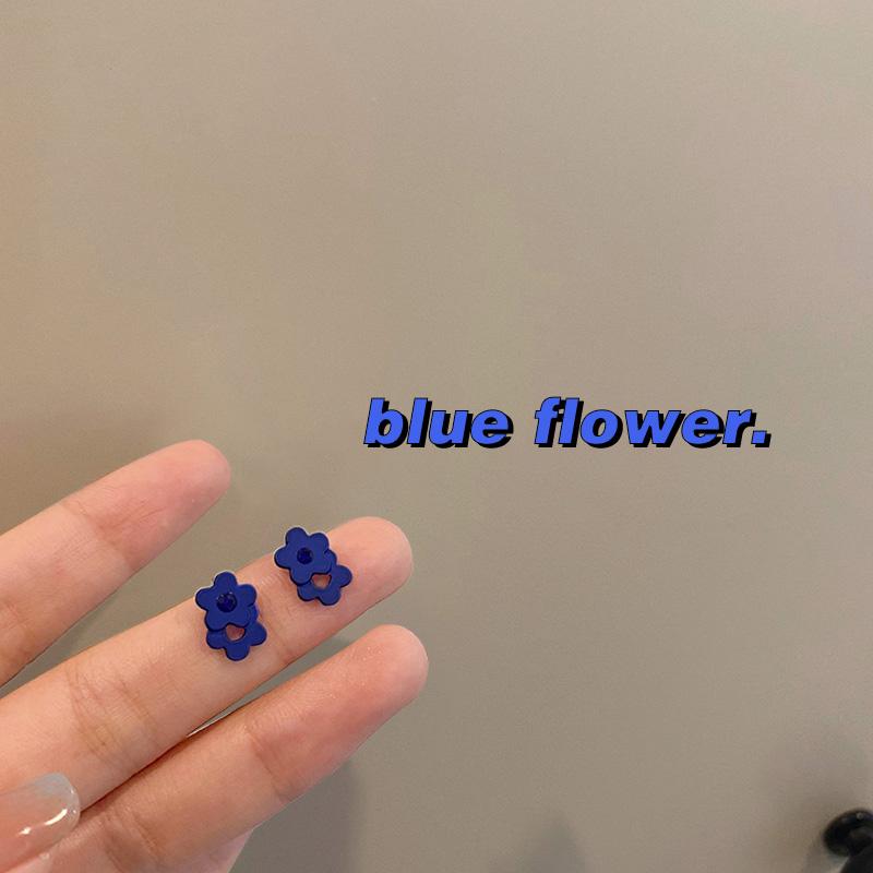 宝蓝色精致小花朵耳钉耳环女2021年新款潮气质冷淡风设计感耳饰品