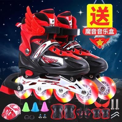 溜冰鞋儿童初学者可调整套可爱闪灯童鞋运动卡通滑冰鞋7岁14岁。