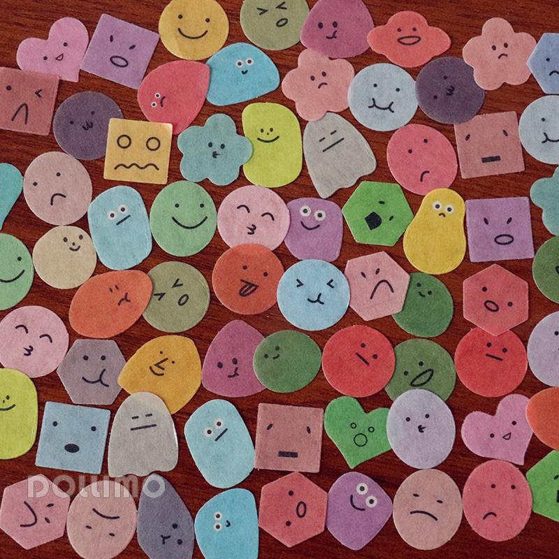Do家 量贩装100枚入 小小的表情生物可爱贴纸包 百变心情和纸手帐贴纸 少女心花花水果卡通风ins风手机贴纸